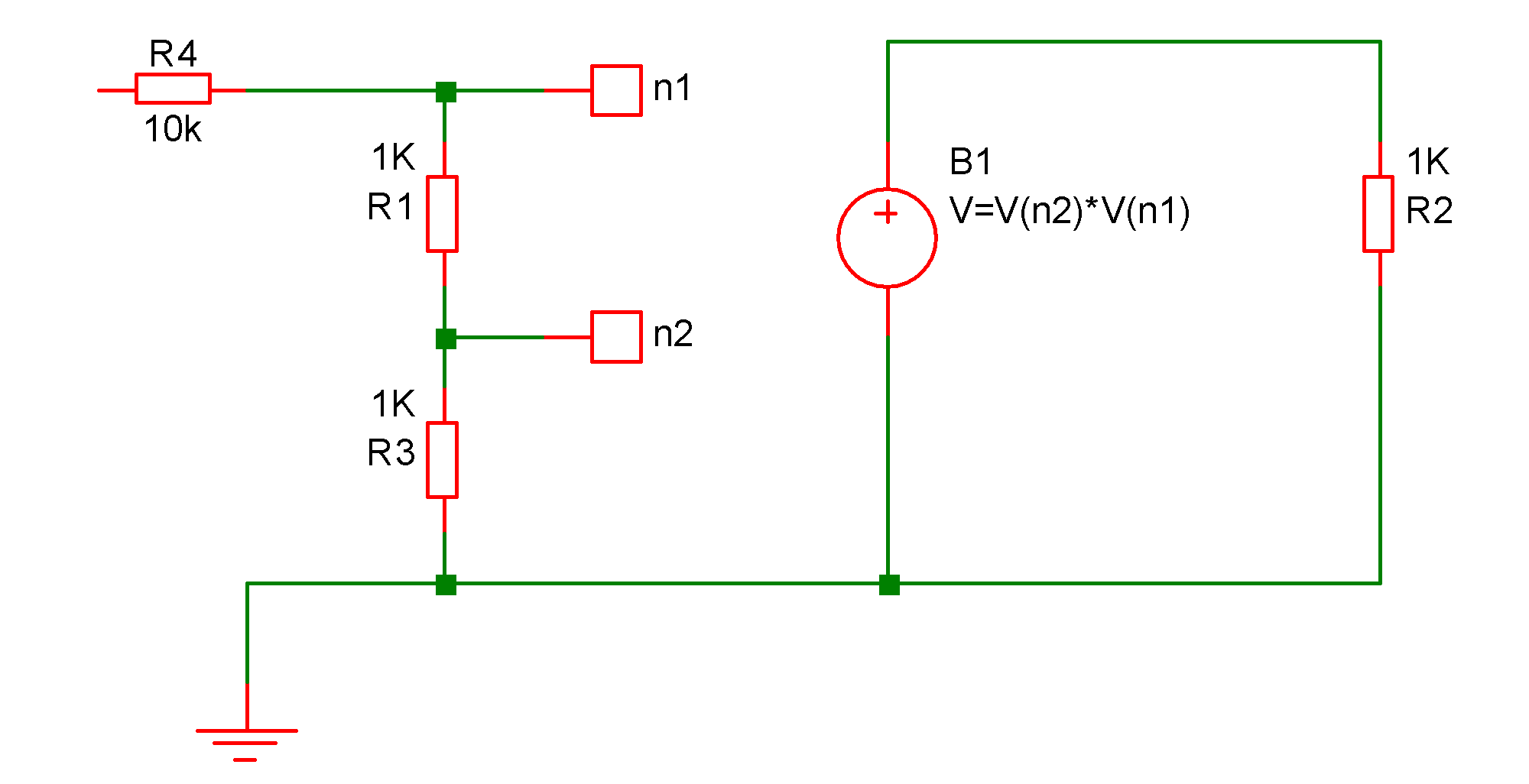 Simulator Reference Arbitrary Source Circuit Diagram Voltage In The Above Across B1 Will Be Equal To Product Of Voltages At Nodes N1 And N2