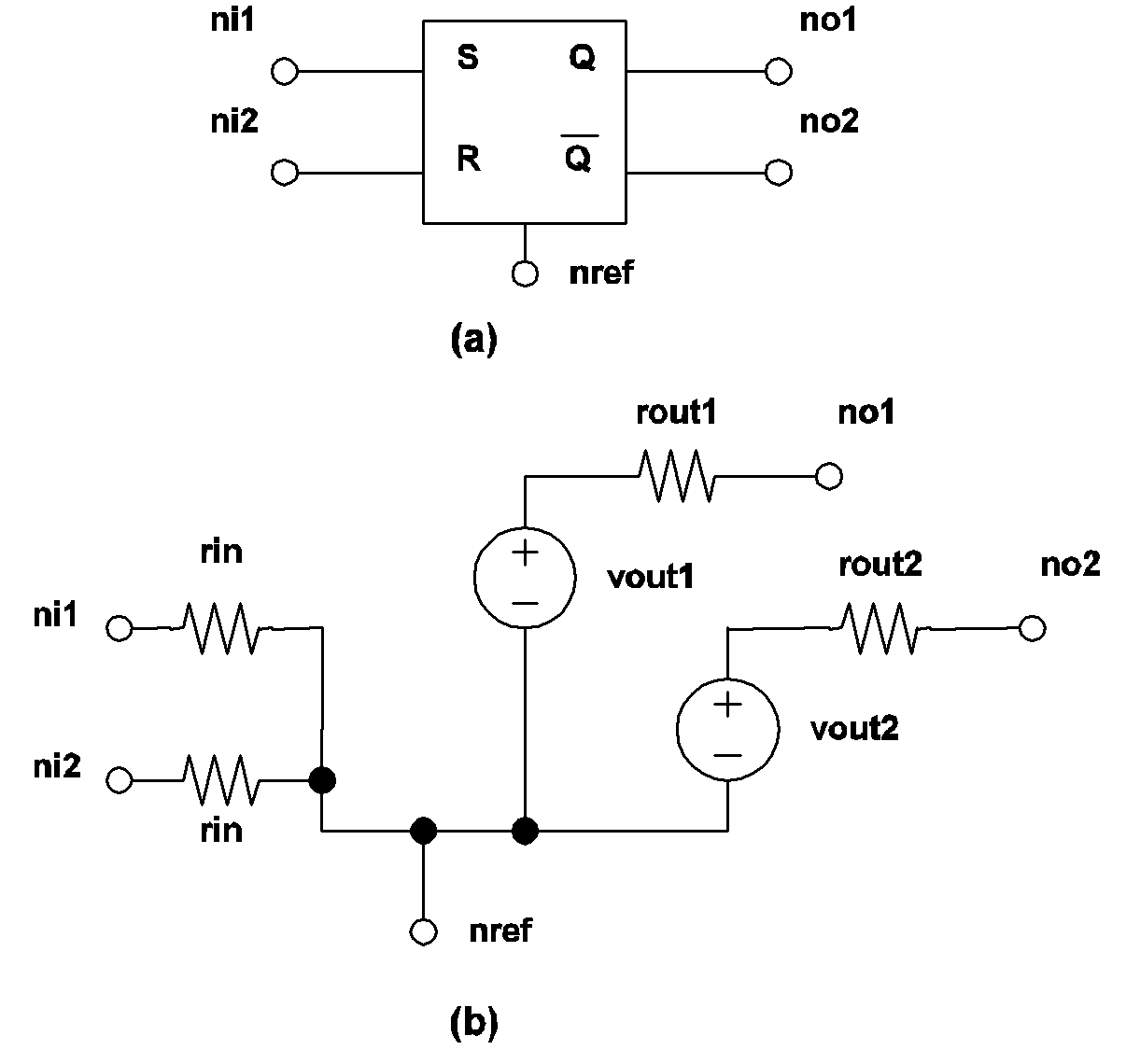 Simplis Reference Device Models Used In Nand Gate Circuit Diagram On Dflip Flop 412 Sr Flip Model A Symbol For S R B