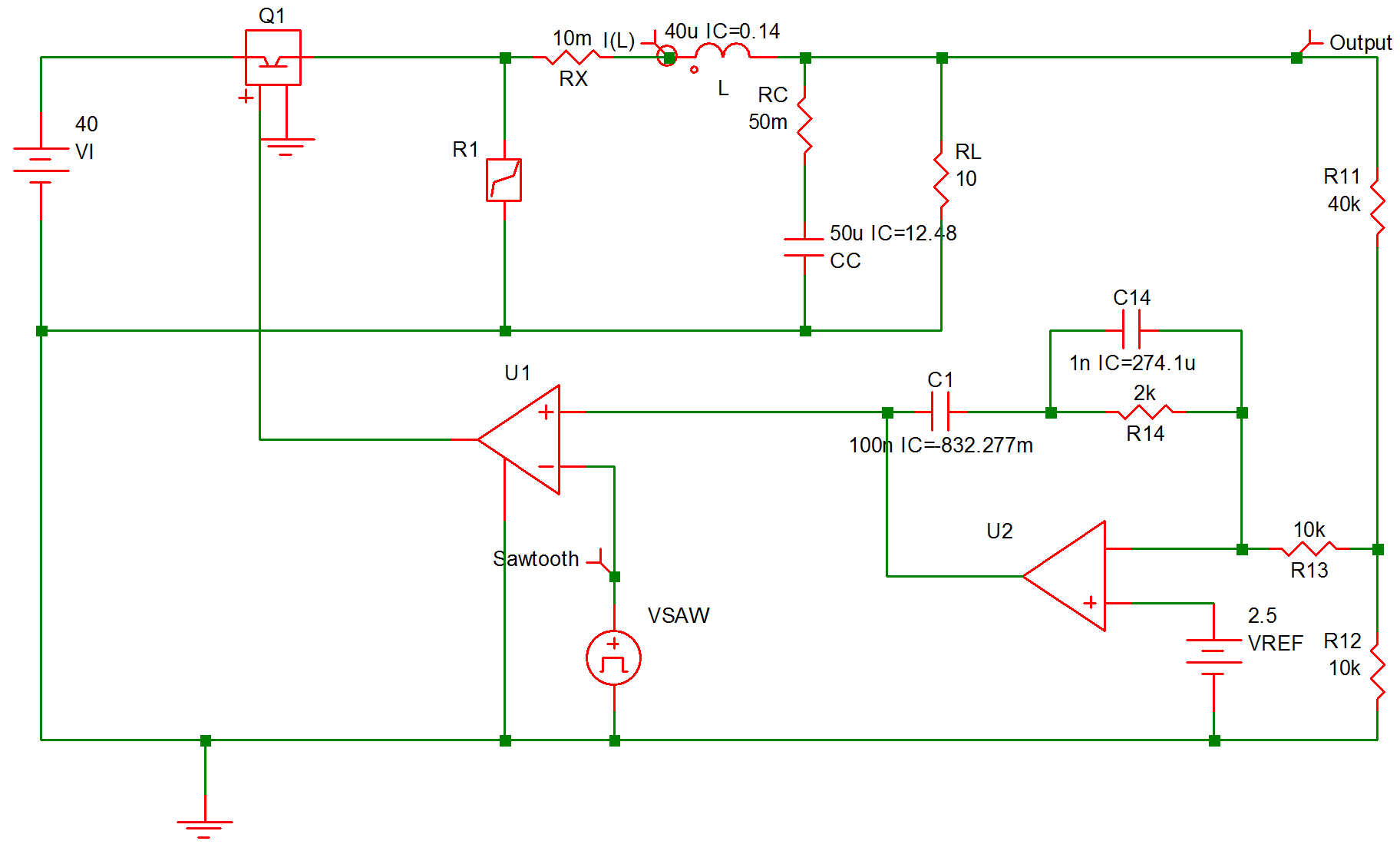 Simplis Reference Example 5 Regulated Converter Circuit Diagram For Opamp As Comparator Op Amp 913