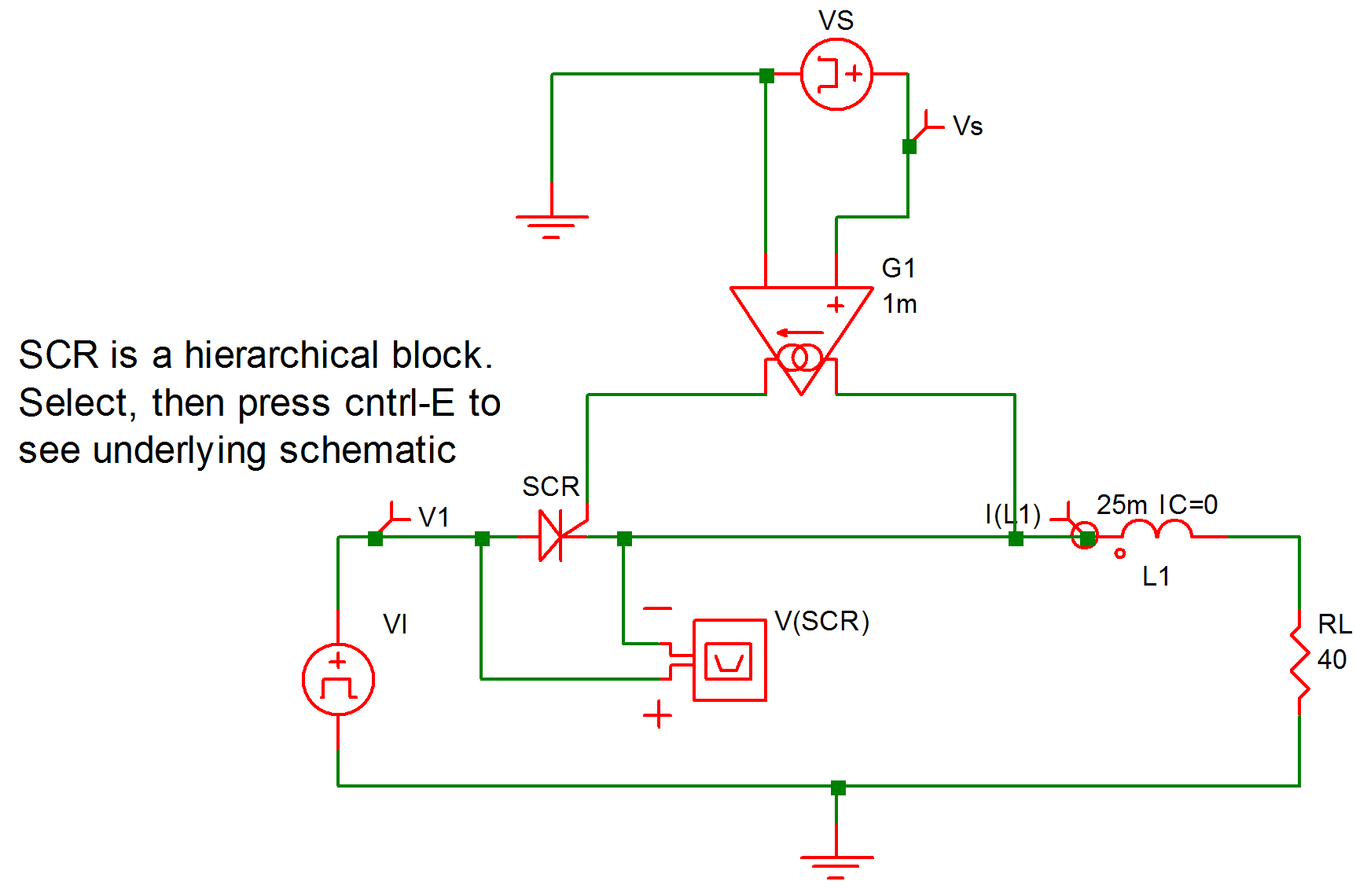 Simplis Reference Example 7 Scr With Rl Load How To Make Simple Circuits 920 A Silicon Controlled Rectifier Series R L