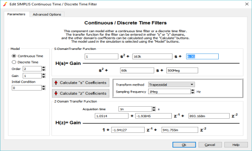 Continuous or Discrete Time Filter Dialog